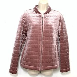 MaxMara Leisure Quilted Padded Velvet Jacket Pink